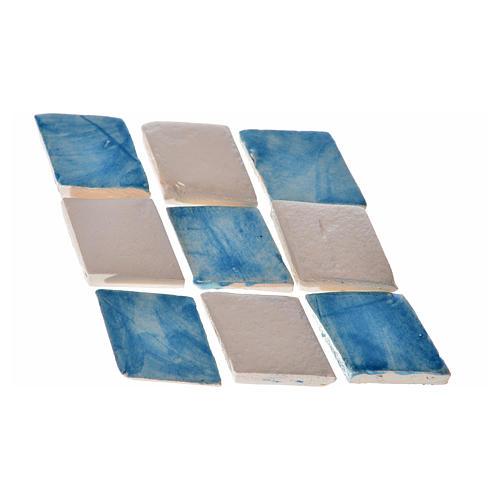 Carreaux mini en losange bleu crèche 60 pcs terre cuite 2