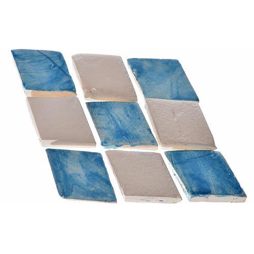Mattonelle terracotta smaltate 60 pz romboidali blu per presepe 1