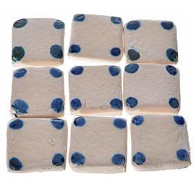 Mini-carreaux pois bleus crèche 60 pcs terre cuite s1