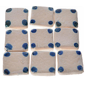 Mattonelle terracotta smaltate 60 pz puntini blu per presepe s1