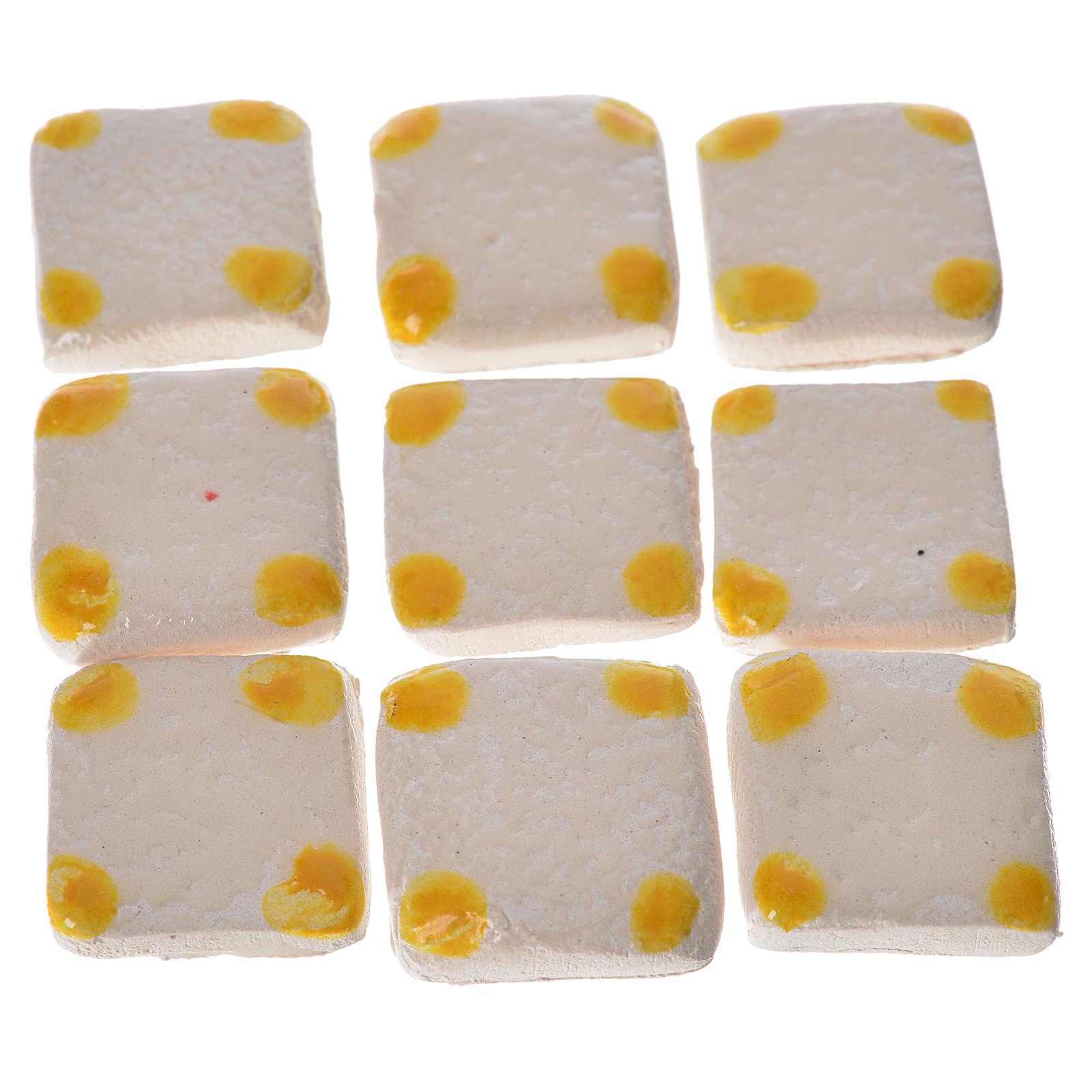 Mattonelle terracotta smaltate 60 pz puntini gialli per presepe 4