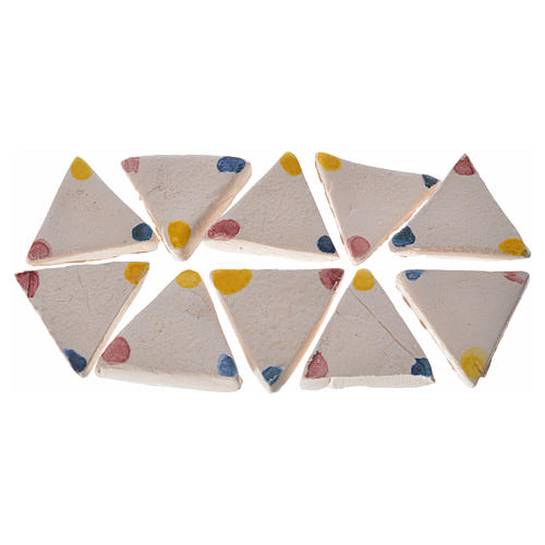 Nativity accessory, enamelled terracotta tiles, 60pcs, triangula 1