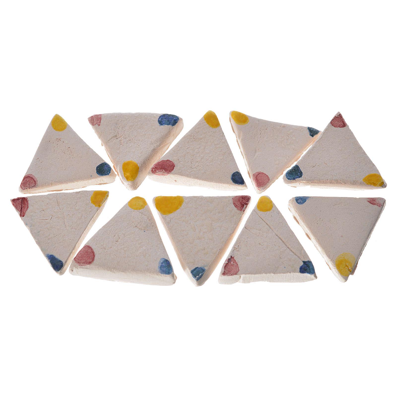 Nativity accessory, enamelled terracotta tiles, 60pcs, triangula 4