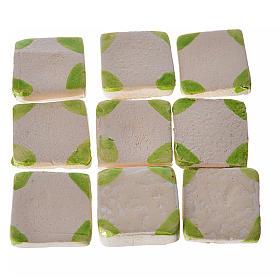 Azulejos de terracota esmaltada, 60pz puntos verdes s1