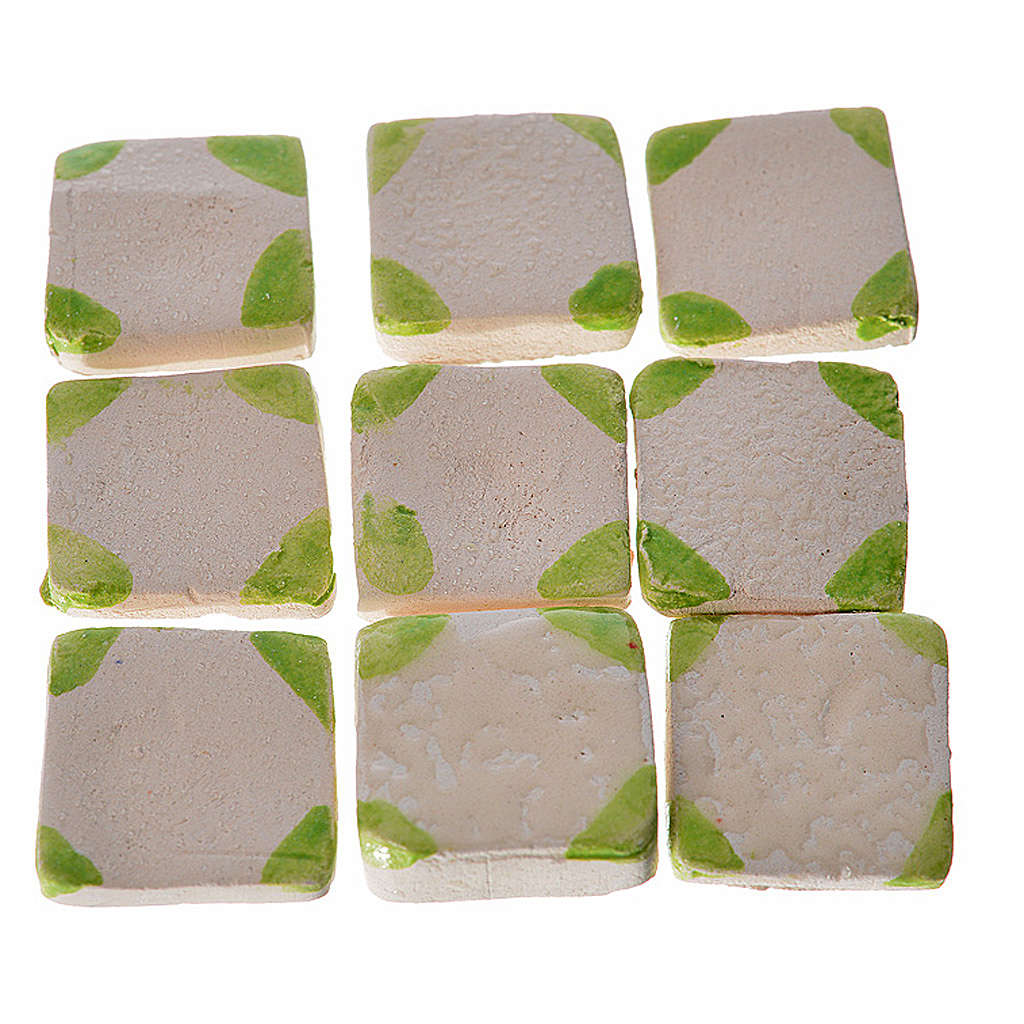 Nativity accessory, enamelled terracotta tiles, 60pcs, with gree 4