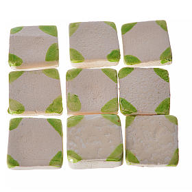 Nativity accessory, enamelled terracotta tiles, 60pcs, with gree s1