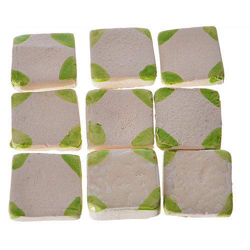 Nativity accessory, enamelled terracotta tiles, 60pcs, with gree 1