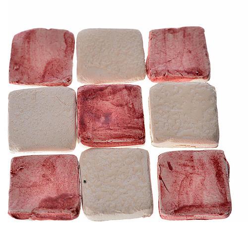 Mattonelle terracotta smaltate 60 pz bordeaux per presepe 1