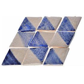 Azulejos de terracota esmaltada, 60pz romboidales blanco y azul s1