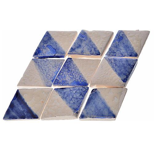 Azulejos de terracota esmaltada, 60pz romboidales blanco y azul 1