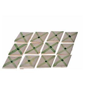 Carreaux losange rayures vert crèche 60 pcs terre cuite s1