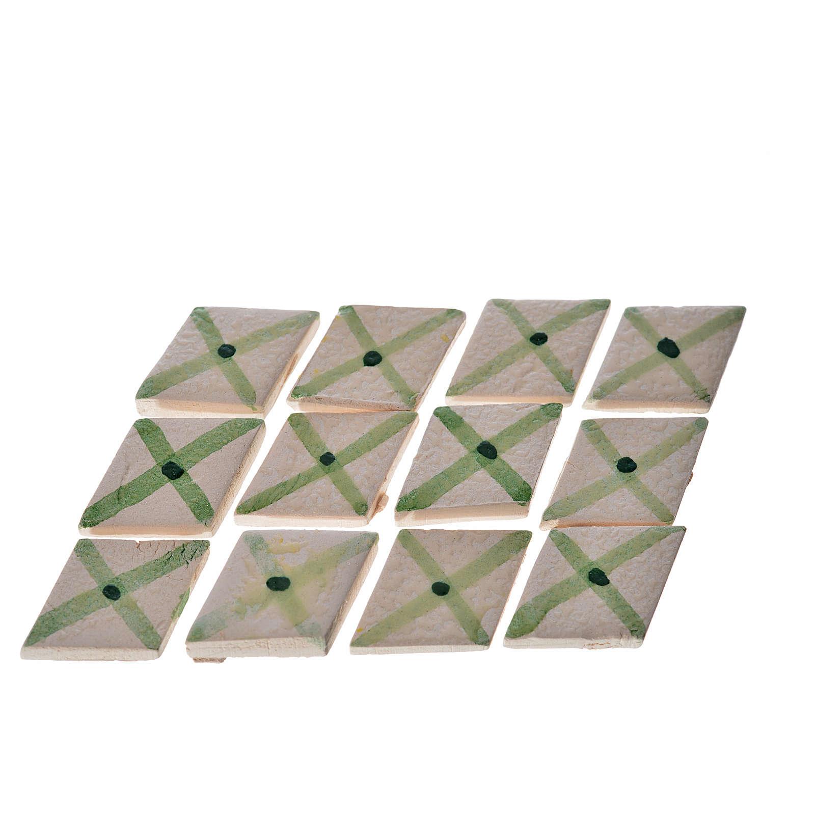 Mattonelle terracotta smaltate 60 pz romboidali riga verde per p 4