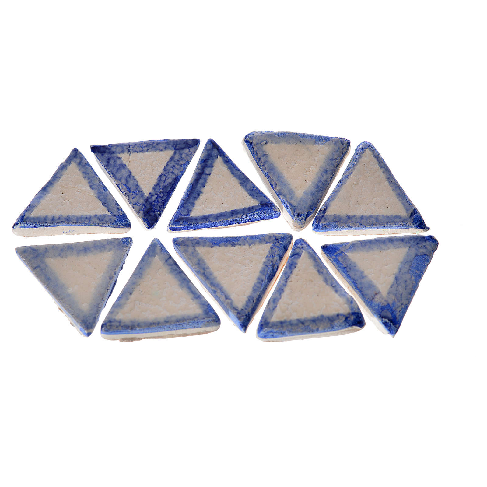 Azulejos de terracota esmaltada, 60pz triangulares linea azul 4