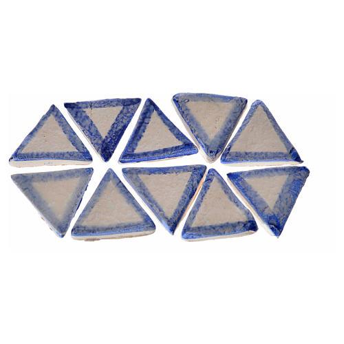Azulejos de terracota esmaltada, 60pz triangulares linea azul 1