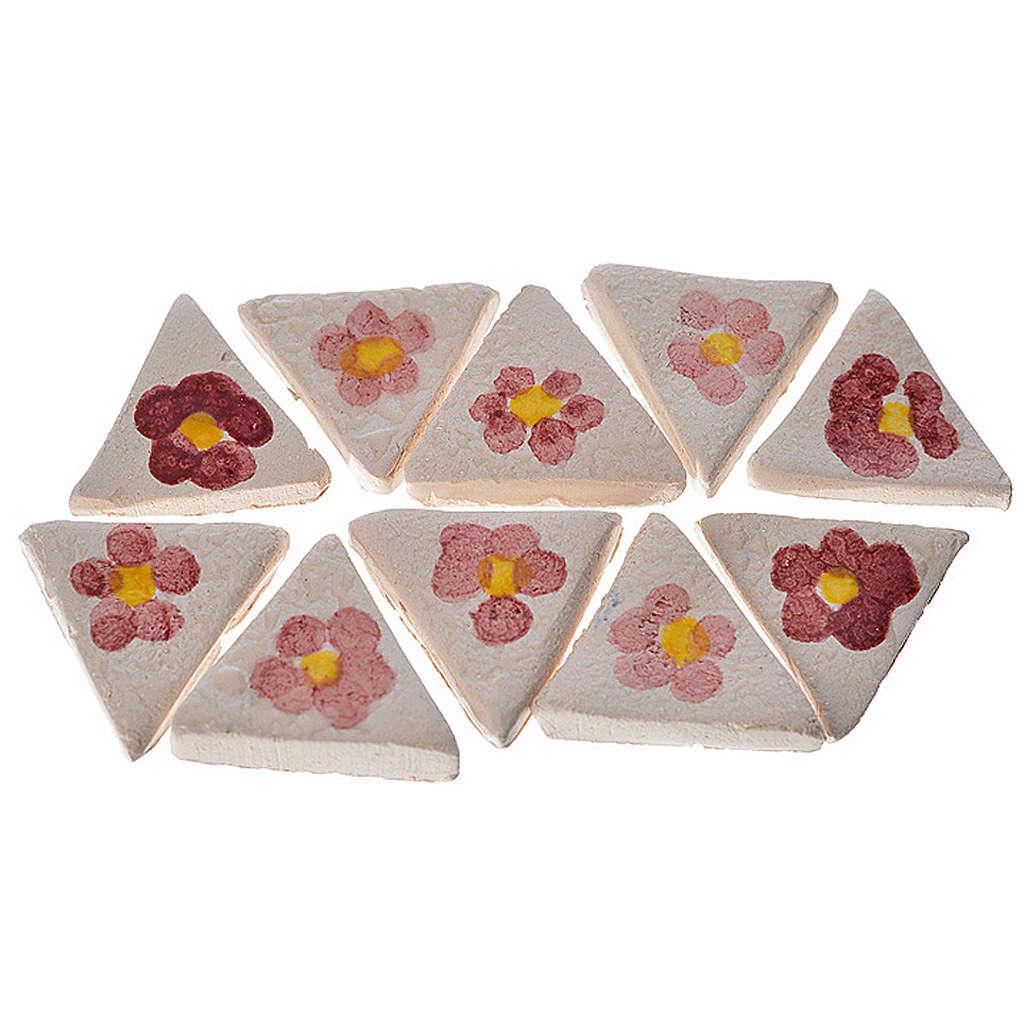 Azulejos de terracota esmaltada, 60pz triangulares flor 4