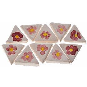 Azulejos de terracota esmaltada, 60pz triangulares flor s1