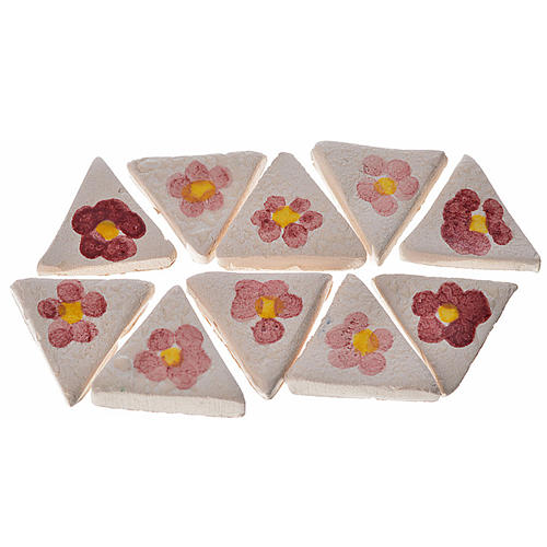 Azulejos de terracota esmaltada, 60pz triangulares flor 1