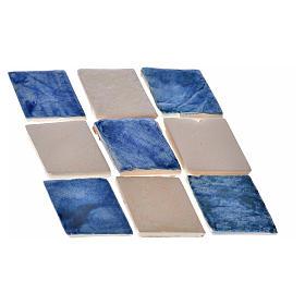 Azulejos de terracota esmaltada, 60pz romboidales azul s1