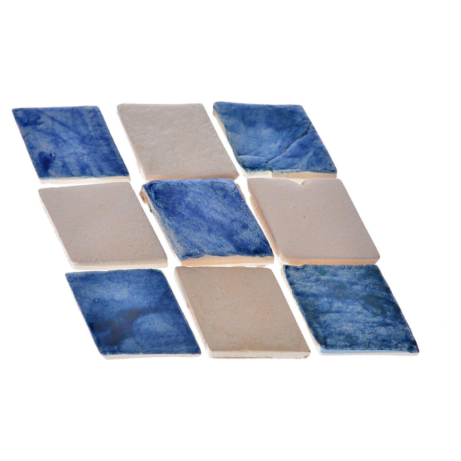 Mattonelle terracotta smaltate 60 pz romboidali blu per presepe 4