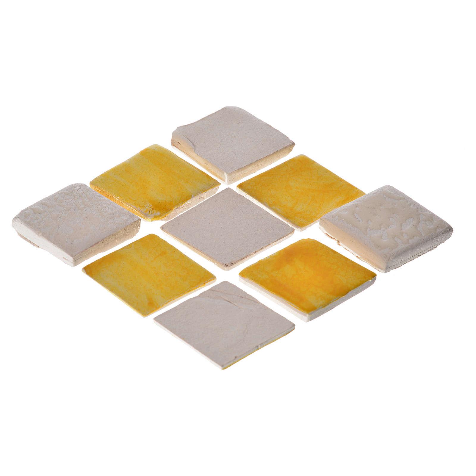 Azulejos de terracota esmaltada, 60pz romboidales amarillo 4