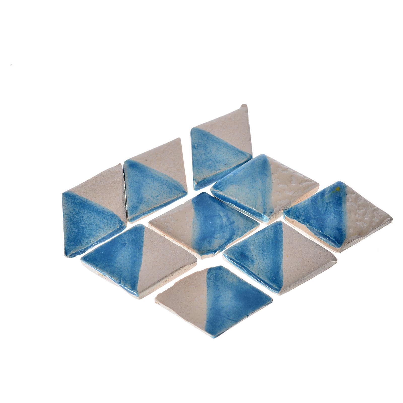 Carrelages mini-rhombes crèche 60 pcs terre cuite émaillée bleue 4
