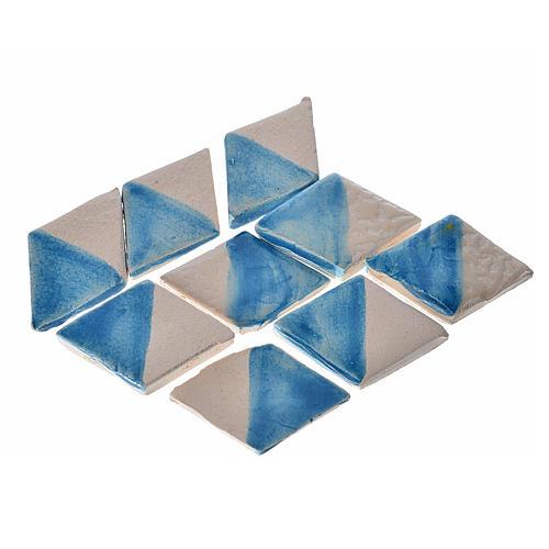 Mattonelle terracotta smaltate 60 pz romboidali azzurre per pres 1