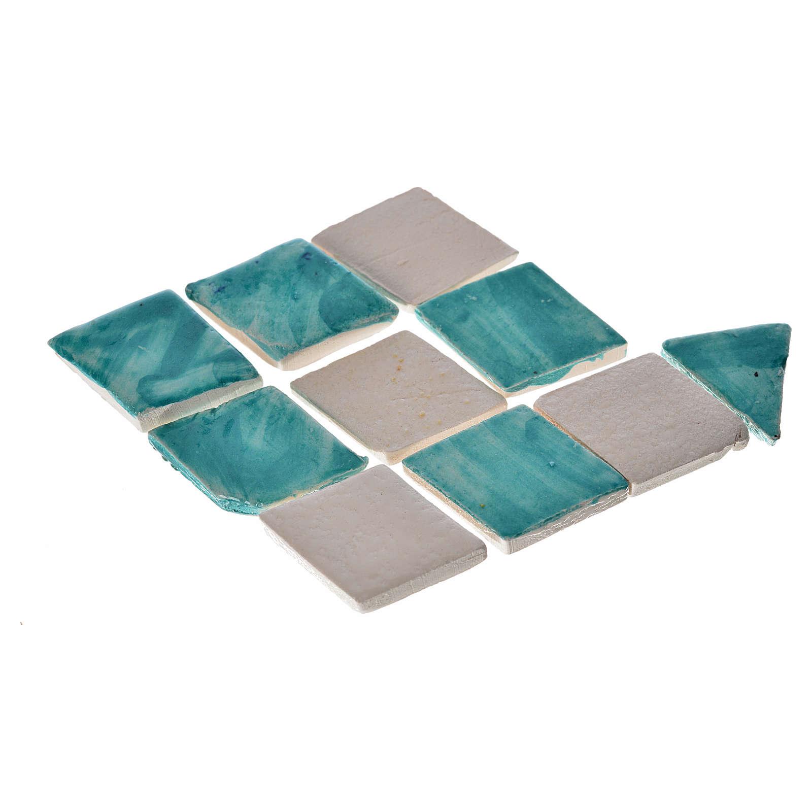 Carrelages rhombes crèche 60 pcs terre cuite émaillée vert d'eau 4