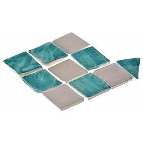 Carrelages rhombes crèche 60 pcs terre cuite émaillée vert d'eau s1