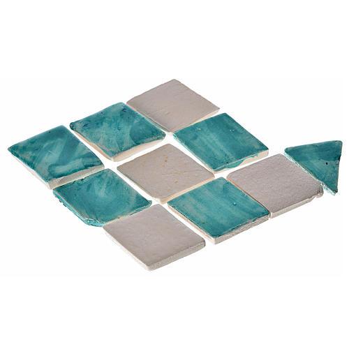 Mattonelle terracotta smaltate 60 pz romboidali verde acqua per 1