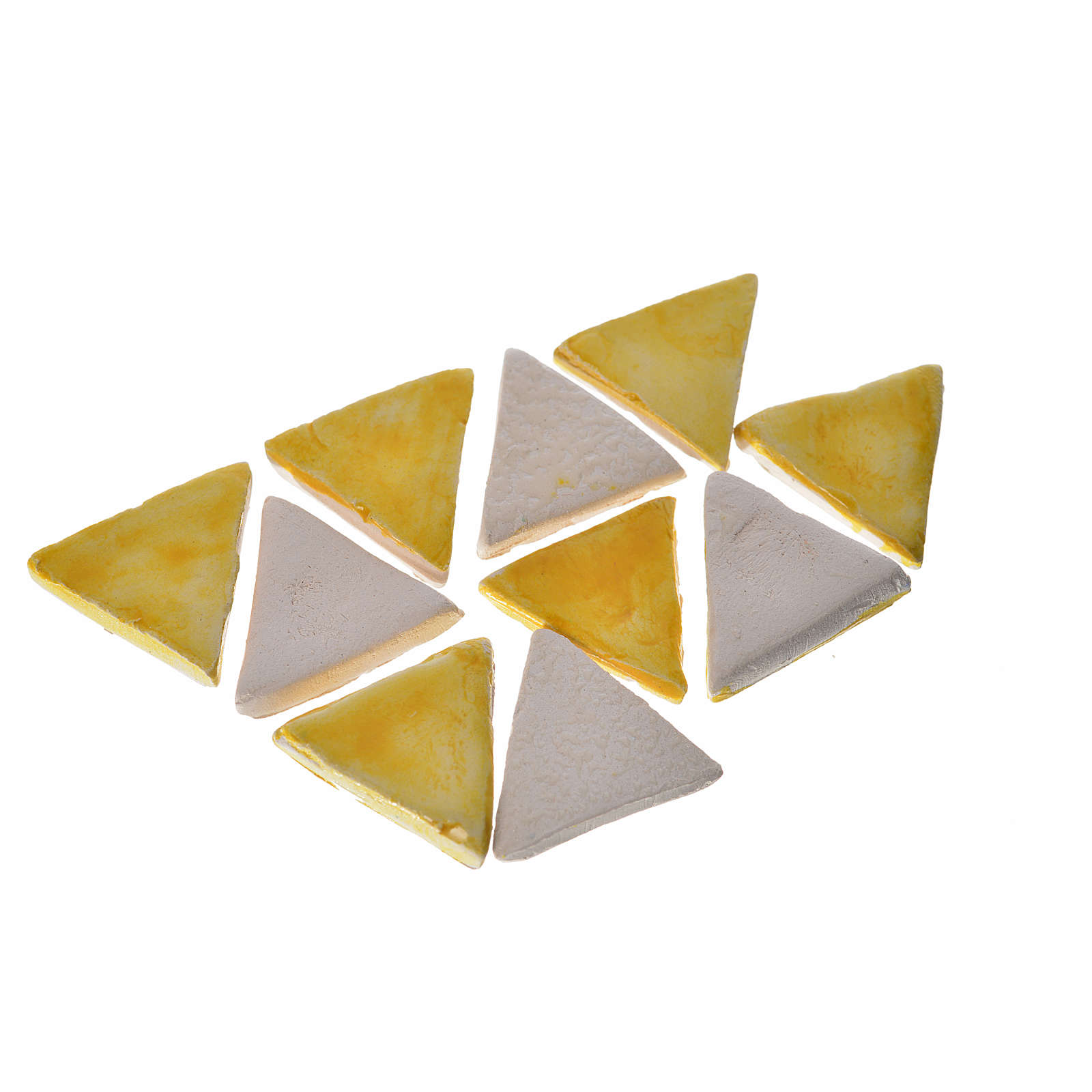 Nativity accessory, terracotta triangular tiles with enamel 60pc 4