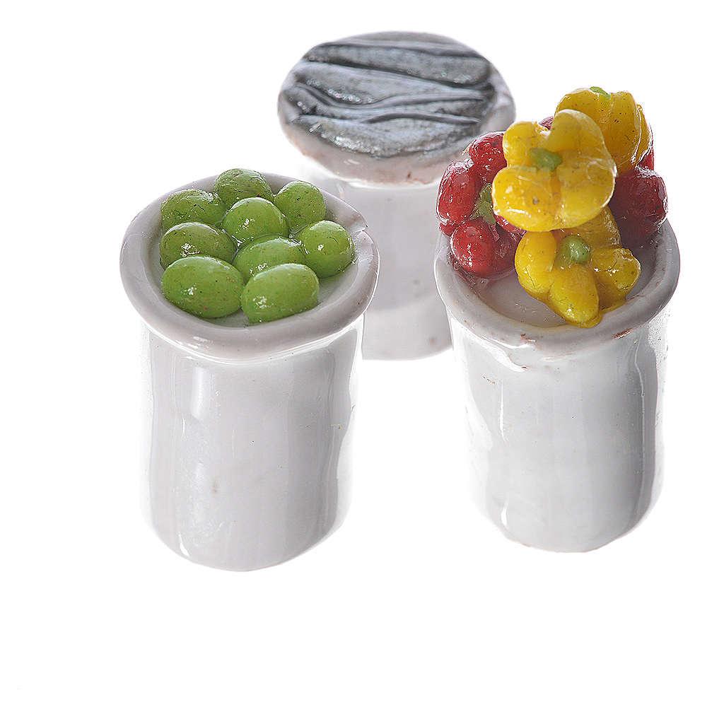 Gläschen aus Terrakotta mit Essen für Krippe 4