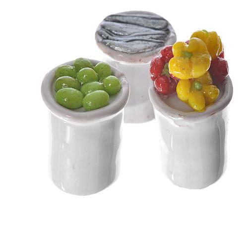 Gläschen aus Terrakotta mit Essen für Krippe 2