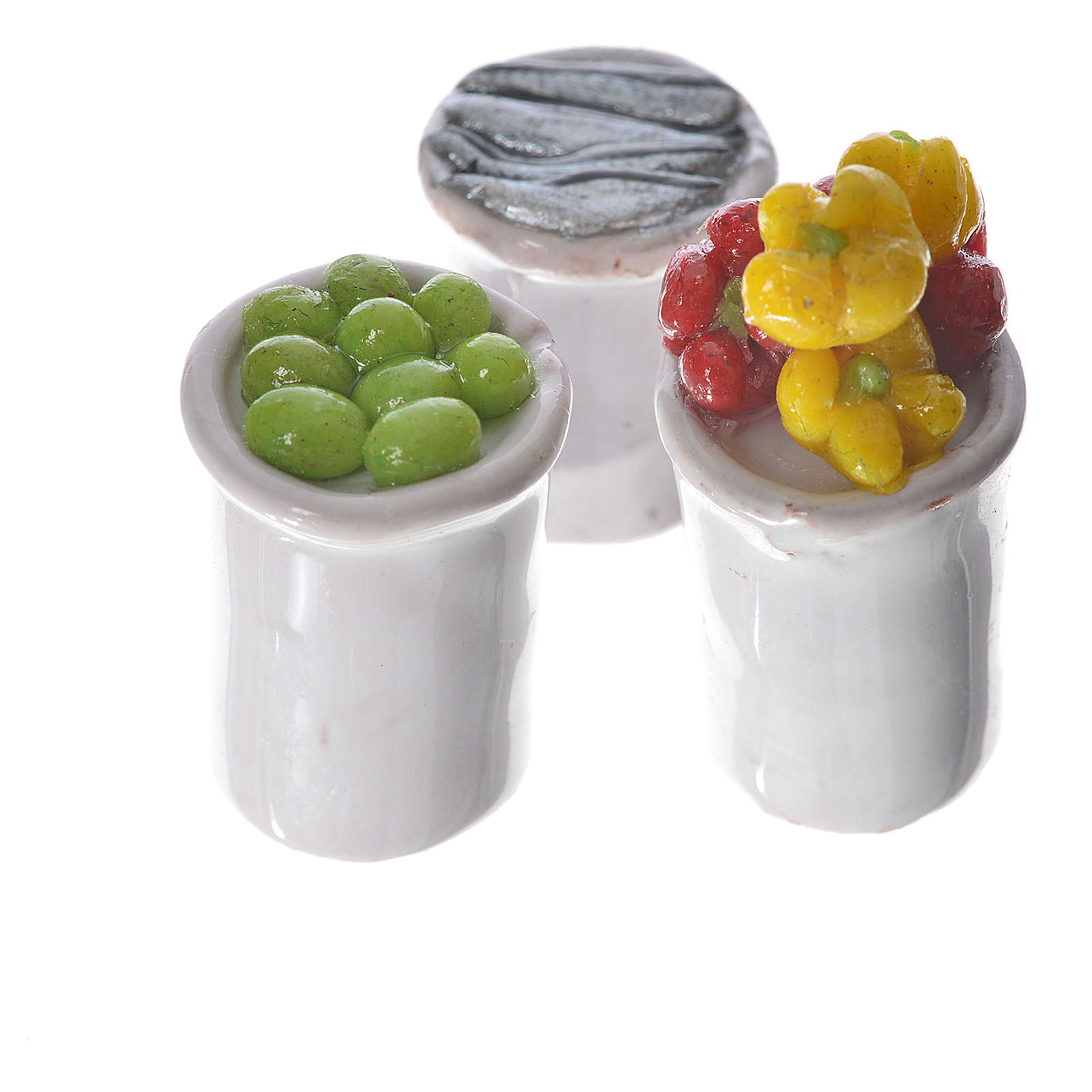 Nativity accessory, assorted food, 3pcs in wax 4
