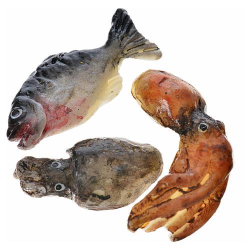 Pesce assortito in cera 3pz per presepe 1