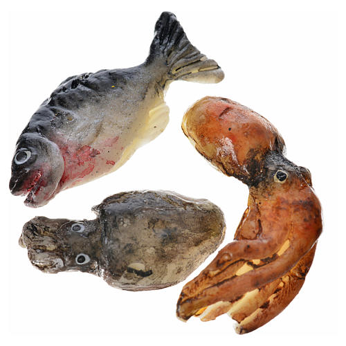 Nativity accessory, assorted fish, 3pcs in wax 1