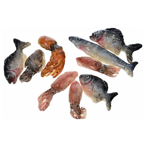 Nativity accessory, assorted fish, 3pcs in wax 2