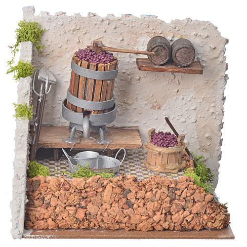 Nativity accessory, press with grapes and pump 20x14x20cm 1