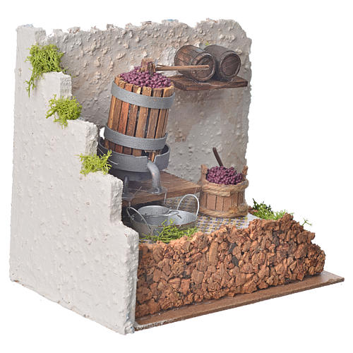 Nativity accessory, press with grapes and pump 20x14x20cm 3