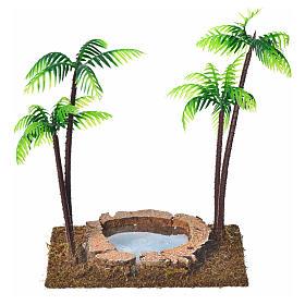 Palmier double avec oasis pour crèche 15 cm s1