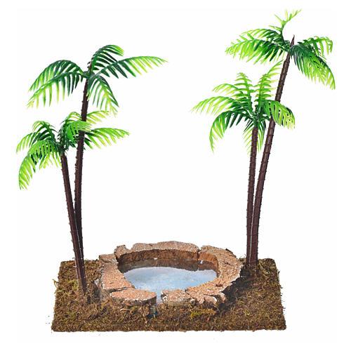 Palmier double avec oasis pour crèche 15 cm 1