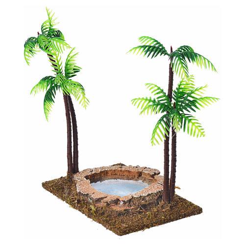 Palmier double avec oasis pour crèche 15 cm 2