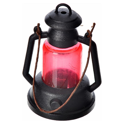 Miniatura Lámpara de queroseno roja belén cm 4 1