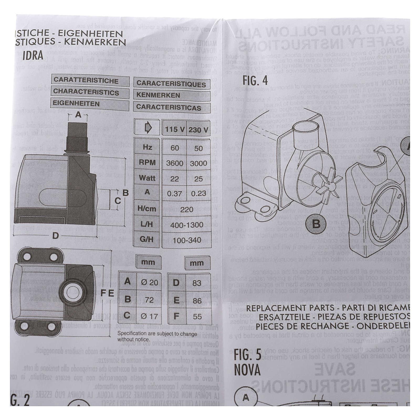 Pompa acqua presepe IDRA 400-1300 litri/ora 25w 4