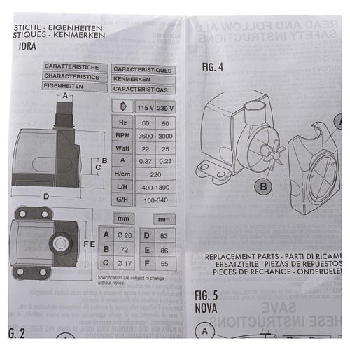 Pompa acqua presepe IDRA 400-1300 litri/ora 25w 7