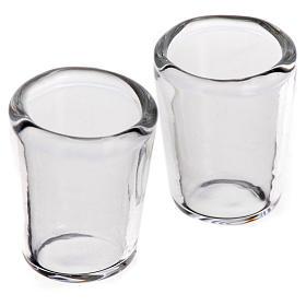Set 2 verres miniatures en verre crèche 1x0,8 cm s1