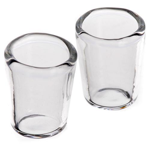 Set 2 verres miniatures en verre crèche 1x0,8 cm 1