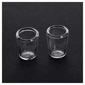 Set 2 verres miniatures en verre crèche 1,2x1,2 cm s2