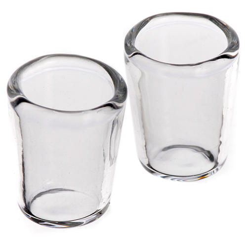 Set 2 verres miniatures en verre crèche 1,2x1,2 cm 1