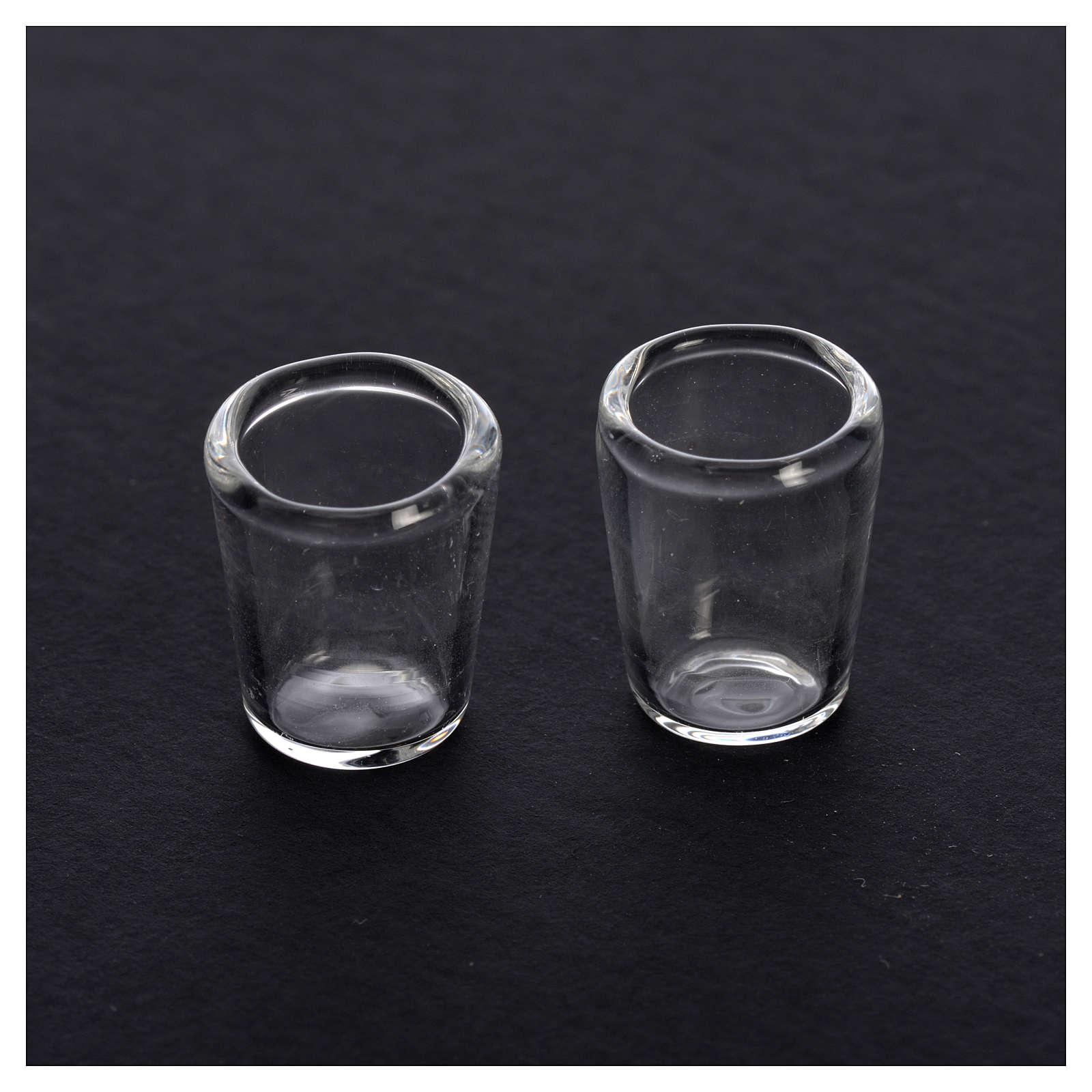 Set 2 verres miniatures en verre crèche 0,8x0,5 cm 4