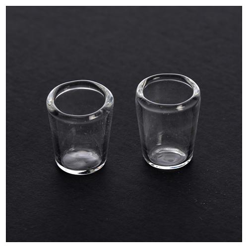 Set 2 verres miniatures en verre crèche 0,8x0,5 cm 2